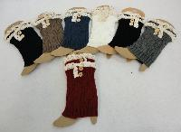 Knitted Boot Cuffs with Antique Lace [2 Buttons]